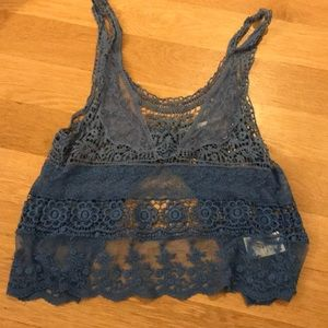 Blue lace tank by urban outfitters with open back